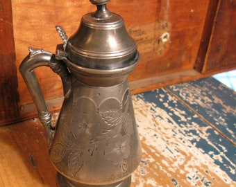 Beautiful 19th Century Silverplate Syrup Pitcher