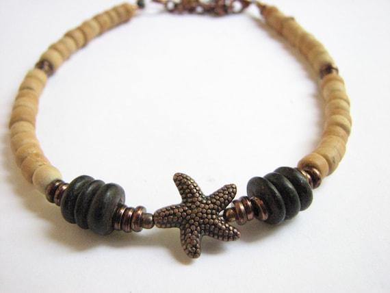 d6e554c660 Starfish Anklet Adjustable Wood Bead Ankle Bracelet Beach | Etsy