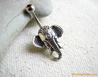 Tribal Belly Button Ring, Elephant Belly Ring,  Non Dangle Tribal Belly Bar Navel Piercing, Elephant Belly Button Jewelry Bellybutton Ring
