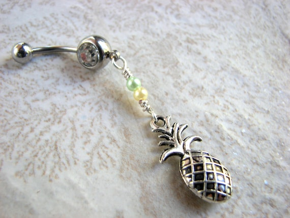 Pineapple Belly Button Rings Foodie Jewelry Tropical Etsy