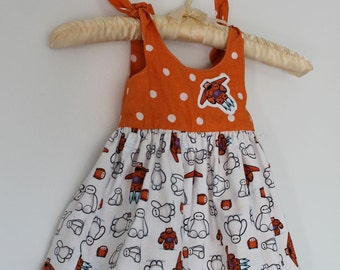 Kawaii Baymax and Halloween Ghosts Reversible Baby Sun Dress