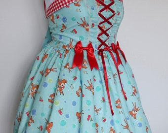 Oh Deer! JSK: Blue Little Bambi with Friends Dress, Sweet Lolita, Plus Size