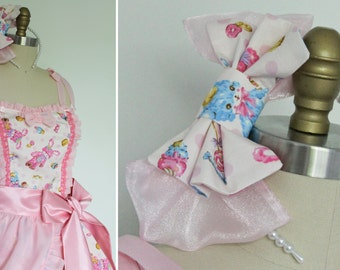 Kawaii Pink Polka Dot Teddy Bear Bunny Rabbit JSK Dress, Runway Prototype, Sweet Lolita