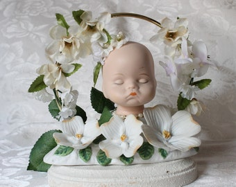 Colette: The Enchanted Fae of Lily of the Valley Porcelain Bisque Doll Head Nightlight Lamp
