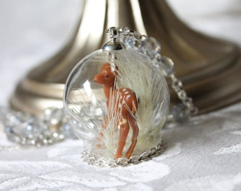 Winter Edition: Bambi Deer Wandering a Field of Wheat in Glass Snow Globe Ring Terrarium Necklace