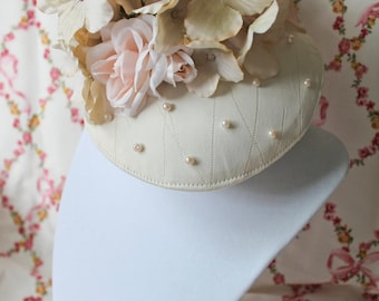 Beige Light Peach Rose Floral Fascinator Marie Antoinette Hat Headpiece