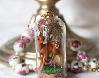 Spring Edition: Bambi Deer Caught in Wild Flowers Forest in Glass Snow Globe Ring Terrarium Necklace