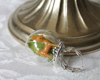 Summer Edition: Tiny Bambi Deer in Snow Globe Ring Terrarium