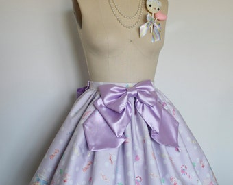 Sugary Sweet Violet Polka Dot Candy Land Skirt with Matching Satin Bow, Sweet Lolita