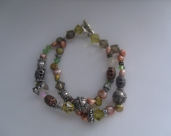 Handcrafted Two Strands Bracelet with Assorted Stones and Bicones