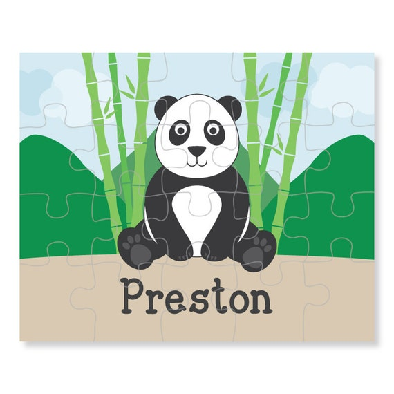 panda puzzle personalized puzzle for kids jigsaw puzzle etsy