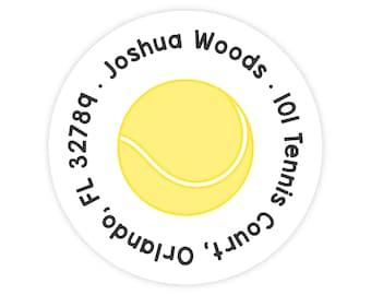 Tennis Address Labels, Personalized Address Labels for Kids, Round Address Labels, Tennis Stickers, Kids Mailing Labels