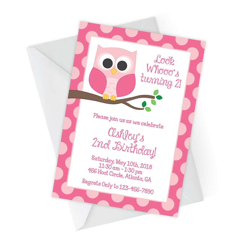 Owl Birthday Invitations Party Invites Kids