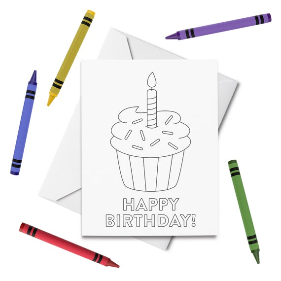 - PRINTABLE Happy Birthday Coloring Card Cupcake Birthday Card Etsy