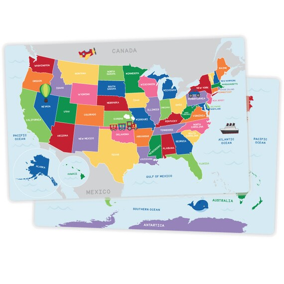 World Map 50 States.United States Of America And World Map Placemat Activity Etsy