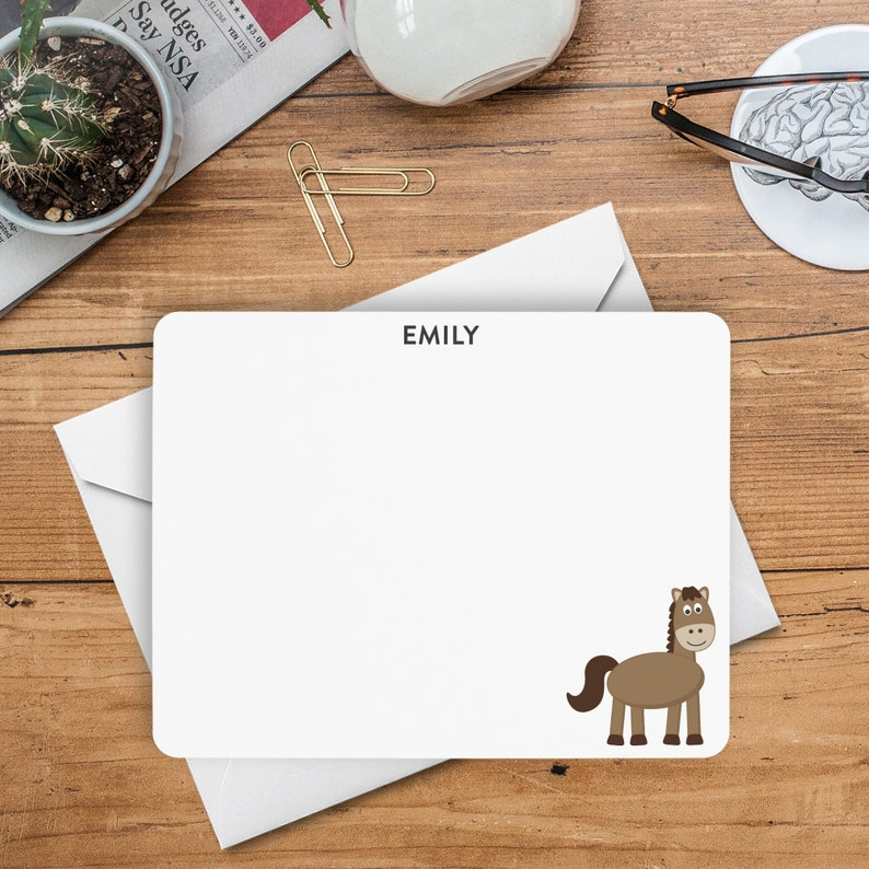 Kids Thank You Cards Personalized Flat Notecards Horse Note Cards Horse Stationery Kids Stationery Animal Notecards Horse Notecards