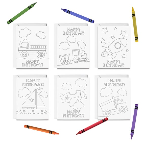 PRINTABLE Happy Birthday Coloring Cards, 6 Birthday Cards For Kids,  Transportation Greeting Card Set, DIY Print & Color By Tickled Peach Studio  Catch My Party
