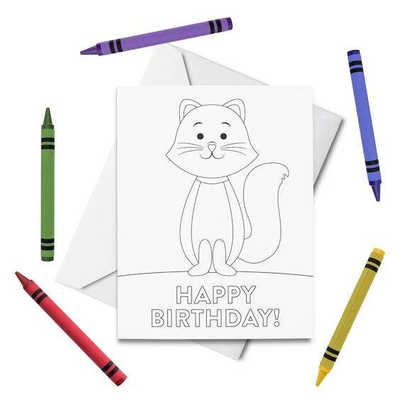 - PRINTABLE Happy Birthday Coloring Card Cat Birthday Card Etsy