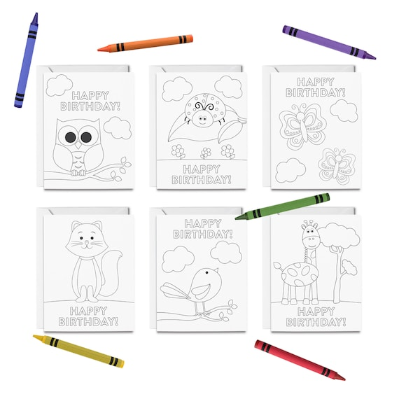 PRINTABLE Happy Birthday Coloring Cards 6 Birthday Cards for