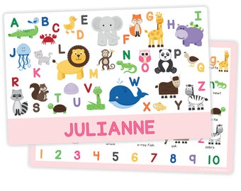 Personalized Animal Alphabet Placemat for Girl - Personalized Kids Placemat - Childrens Placemat - Laminated - Educational Placemat
