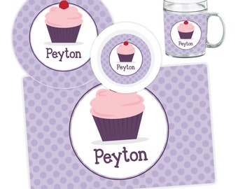 Cupcake Plate Bowl Mug or Placemat - Cupcake Dinnerware Set - Personalized Plate for Kids - Children Plate - Kids Melamine Tableware  sc 1 st  Etsy & Cupcake plate | Etsy