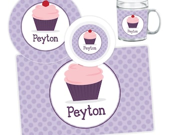 Cupcake Plate Bowl Mug or Placemat - Cupcake Dinnerware Set - Personalized Plate for Kids - Children Plate - Kids Melamine Tableware  sc 1 st  Etsy : cupcake dinnerware - pezcame.com