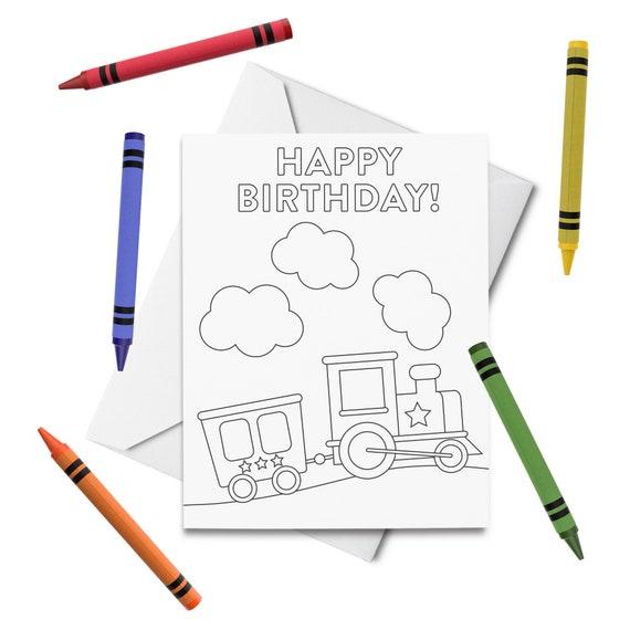 - PRINTABLE Happy Birthday Coloring Card Train Birthday Card Etsy