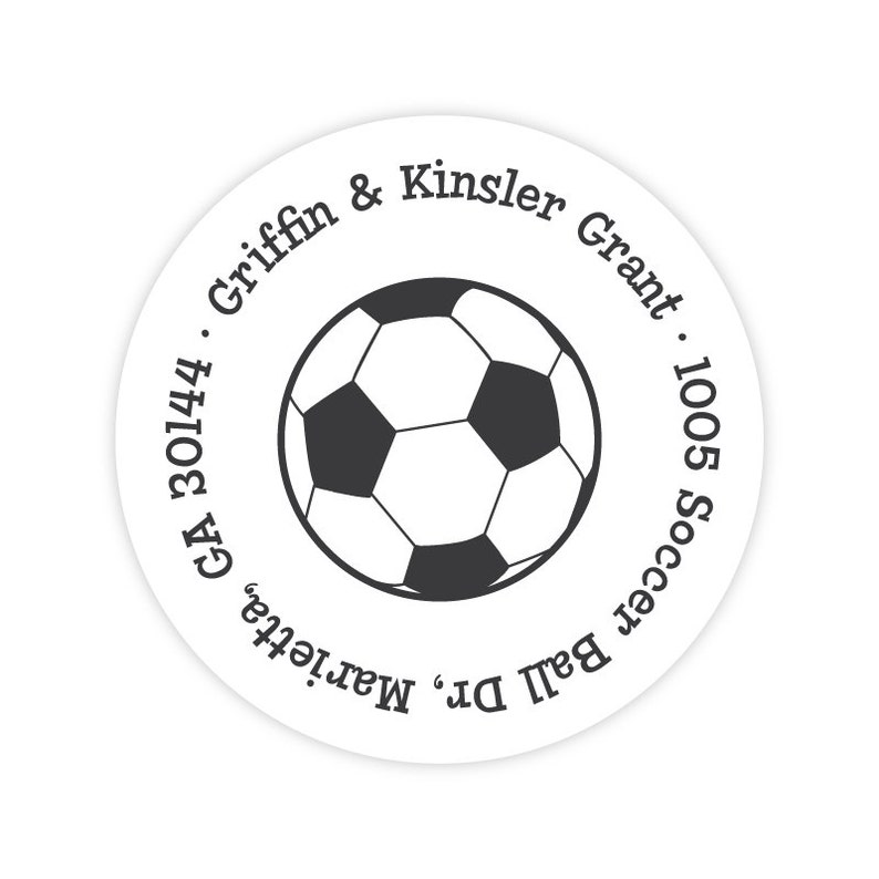 Soccer Stickers Kids Mailing Labels Round Return Address Labels Personalized Address Labels for Kids Soccer Address Labels