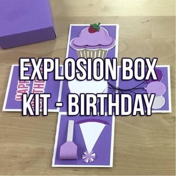 SVG PDF Interactive Explosion Box Card DIY Kit: Birthday Theme Mystery Gift  Box Template