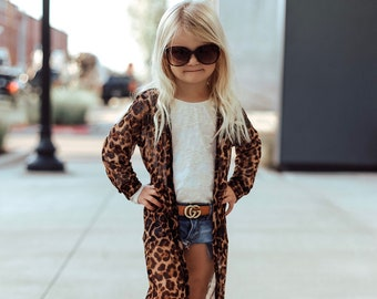 RESTOCKED!! Leopard Print Mesh Duster Kimono, Girls Mesh Duster, Long Duster Cardigan,Toddler Kimono,Mesh Cardigan,Girls Kimono, Long Duster