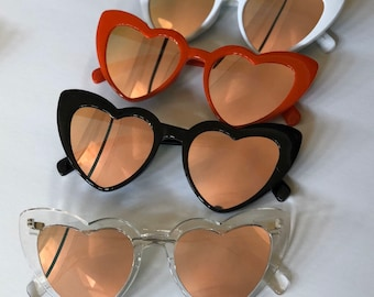 Party Favors Supplies Top Bee Heart Shaped Retro Sunglasses for Women Red Pink Beige White Black Leopard