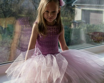Purple Flower girl knitted blouse and tutu skirt for a little princess