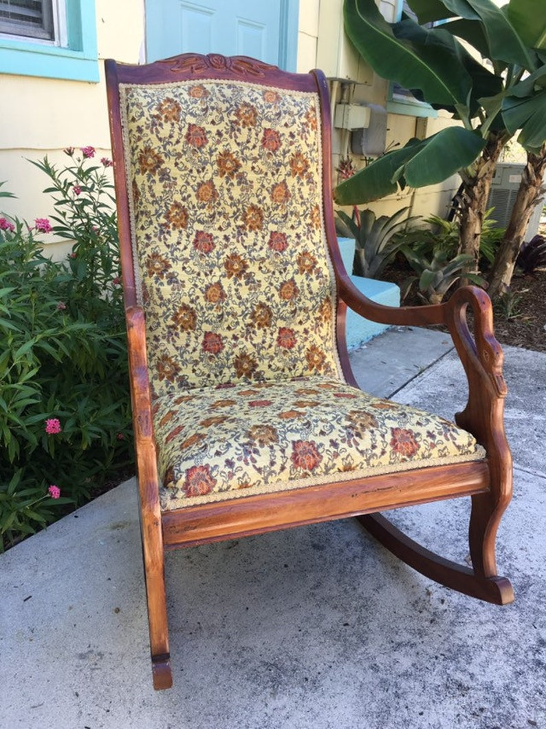 Groovy Vintage Upholstered Rocking Chair With Carved Swan Arms Local Pick Up Only Please Ncnpc Chair Design For Home Ncnpcorg