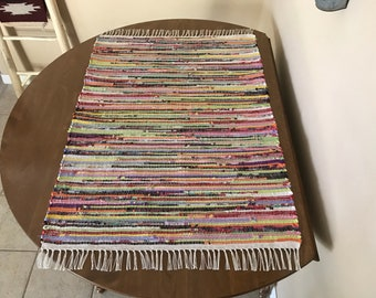 Hand Woven Multi Color Recycled Rag Rug