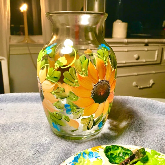 Hand Painted Sunflower Vase Personalizable Etsy