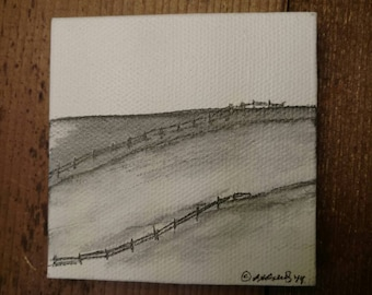 """A grand view of the country side, drawn in pencil on a 3"""" x 3"""" canvas"""