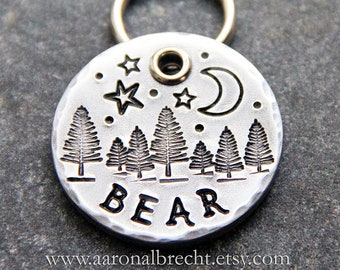 Dog Tags for Dogs Personalized, Nature, Trees, Starry Night