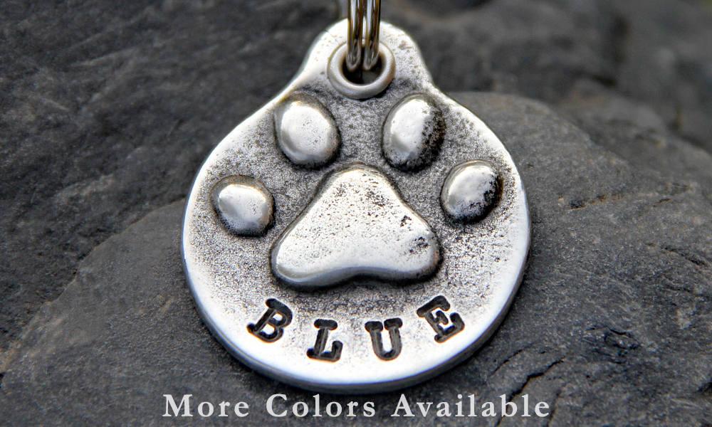 Dog Tag - Dog ID Tag - Pet Tag - Dog Name Tag - Pet ID Tag - Personalized Dog Tag for Collar - Pet Accessory - Dog Paw Print