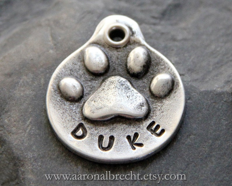 Personalized Dog Tag Pet Id Tag Dog Tags Custom Dog Id Tag Hand Stamped Pet Tag Gifts For Pets Pewter Dog Tag Paw Print