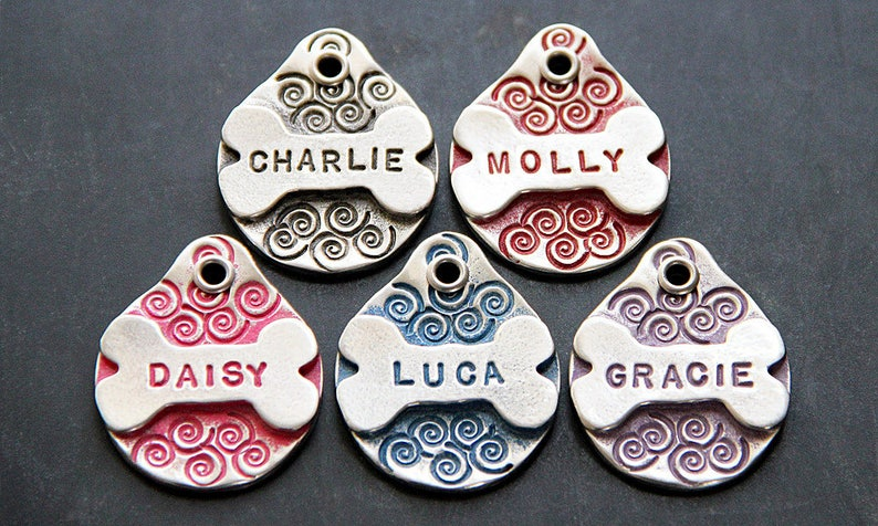 Custom Metal Bone Dog Name Tag Dog Tags for Dogs Personalized Pink
