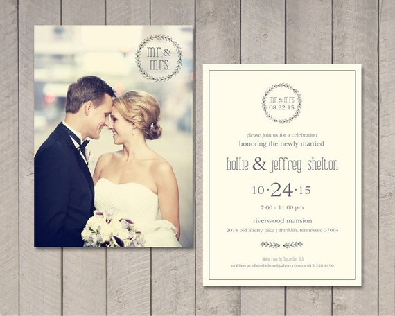 Modern Wedding Reception Invitation Printable By Vintage Etsy
