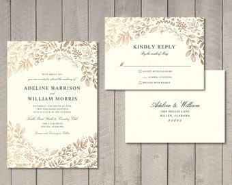 Gold Floral Wedding Invitation, RSVP Card (Printable) by Vintage Sweet