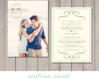 Modern Wedding Invitation (Printable) DIY by Vintage Sweet