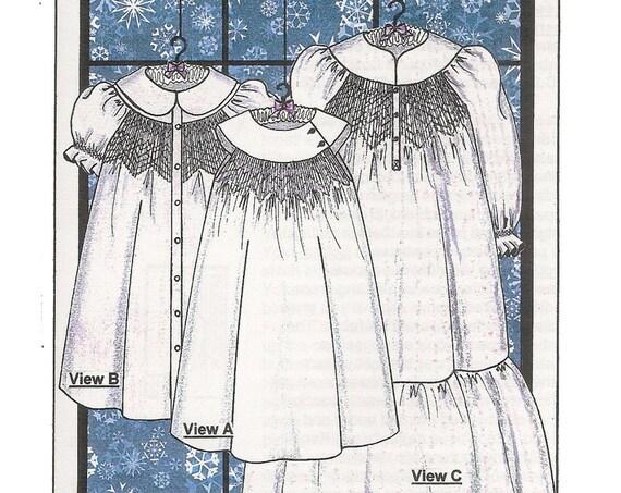 Smocked Dress Pattern / Girls Dress / Smocked / Little Snowdrift / Smocking / Round Yoke / 3 Smocking Plates / Nightgown / Judith Marquis /