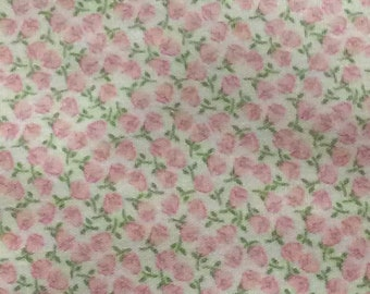 """Fabric / Small Print / Pink Flowers / Smocking Fabric / Dress Fabric / Quilt Fabric / Doll Clothes / 100% Cotton / 60"""" W / FF 2038/"""