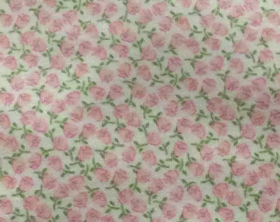 "Fabric / Small Print / Pink Flowers / Smocking Fabric / Dress Fabric / Quilt Fabric / Doll Clothes / 100% Cotton / 60"" W / FF 2038/"