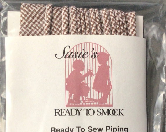 """Brown Gingham Mini Piping / 3 Yard Package / Piping for Childrens Clothes / Doll Clothes / Cording 1/8"""" / Overall width .5"""""""
