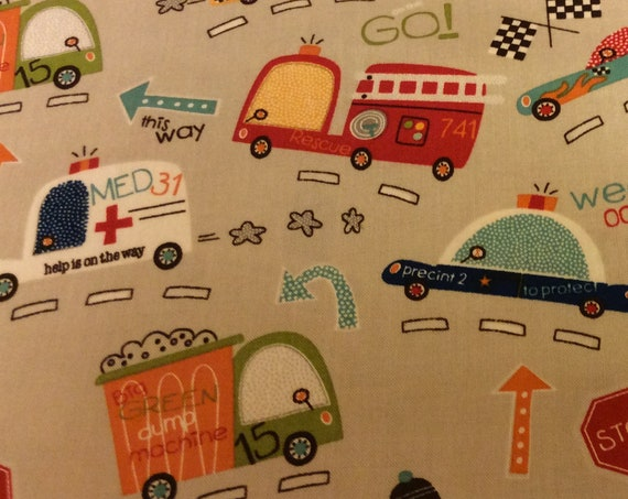 Boys Fabric / Trucks / Fire Engines / Ambulance / Police Car / On Our Way  / Boys Sewing Fabric / Quilting Fabric / by Riley Blake / C1420