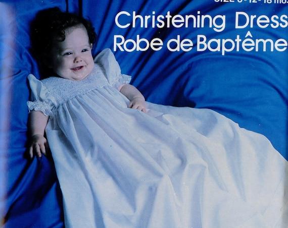 Smocked Christening Dress / Vintage / Baptism / Smocked Hem /  Smocked Square Yoke / 2 Lengths / Scalloped Hem / Rainbow Hill