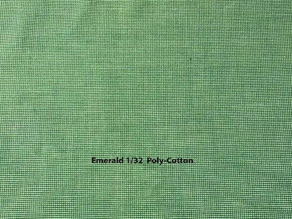 "Gingham Fabric / Emerald Micro Poly-Cotton Gingham / Permanent Press / No-Iron Gingham / 1/32 Gingham / Spechler-Vogel / Vintage / 45"" Wide"